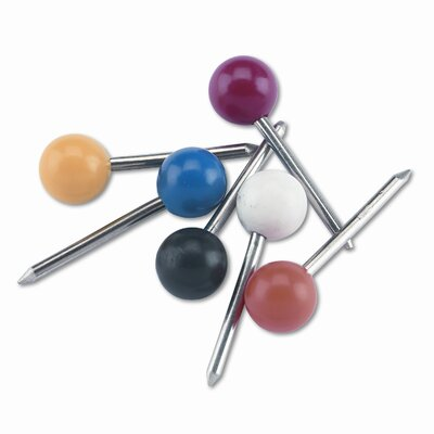 "Gem Office Products, LLC. Plastic Round Head Map Tacks, Steel 3/8"" Point, Assorted Colors, 100 per Box"