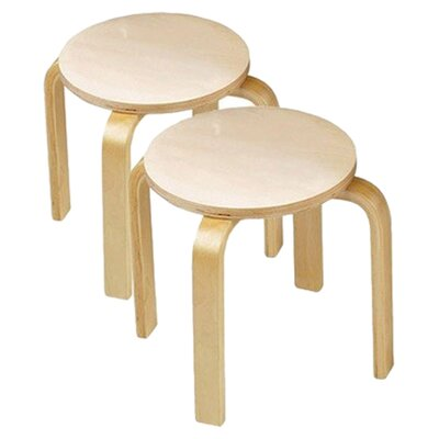 Anatex Wooden Sitting Kid's Stool (Set of 2)