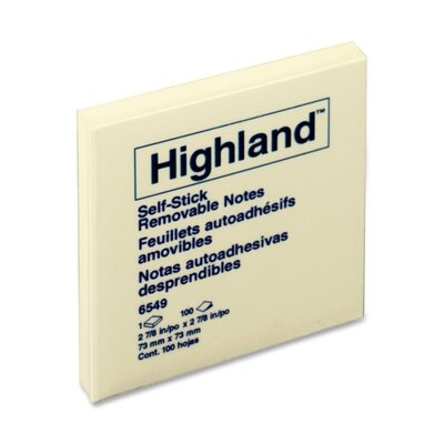 Highland™ Memo Pad, 3 x 3, Yellow, 100 Sheets