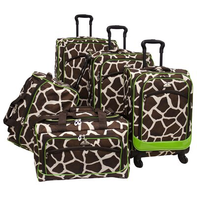 American Flyer Animal Print 5 Piece Spinner Luggage Set