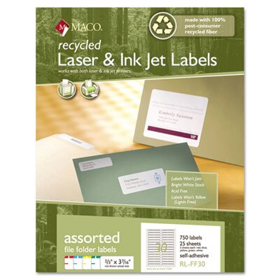 Maco Tag & Label Recycled Laser and InkJet Labels, 2/3 x 3 7/16, Assorted, 750/Pack
