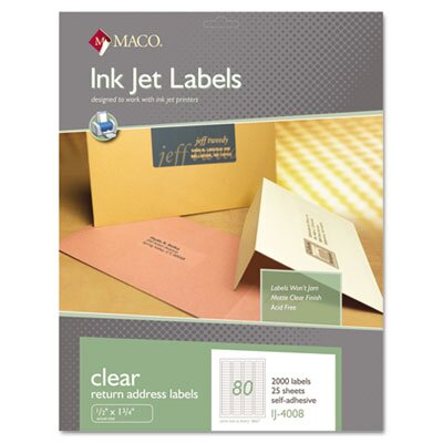 Maco Tag & Label Matte Clear Address Labels, 1/2 x 1 3/4, 2000/Pack