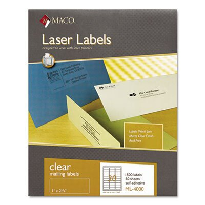 Maco Tag & Label Matte Clear Laser Labels, 1 x 2 5/8, 1500/Box