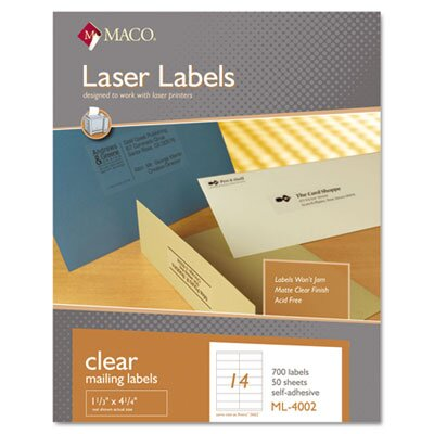 Maco Tag & Label Matte Clear Laser Labels, 1 1/3 x 4 1/4, 700/Box