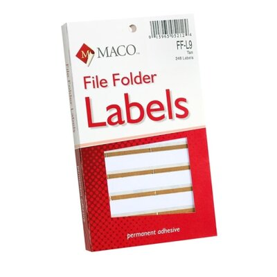 "Maco Tag & Label File Folder Labels, 9/16""x3-7/16"", Tan"