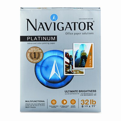 Navigator® Platinum Office Paper, 99 Brightness, 32lb, Letter, White, 2,000 Sheets