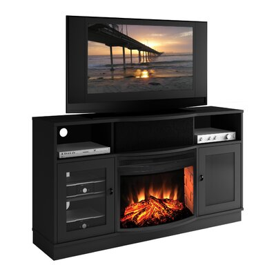 "Furnitech Contemporary 64"" TV Stand with Curved Electric Fireplace"