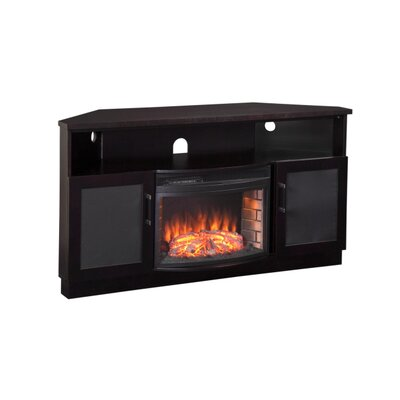 "Furnitech 61"" TV Stand with Curved Electric Fireplace"