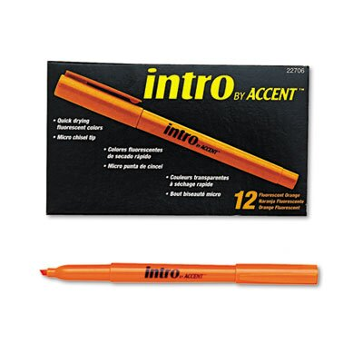 Paper Mate Intro Highlighters, Chisel Tip, Fluorescent Orange, 12/Pk