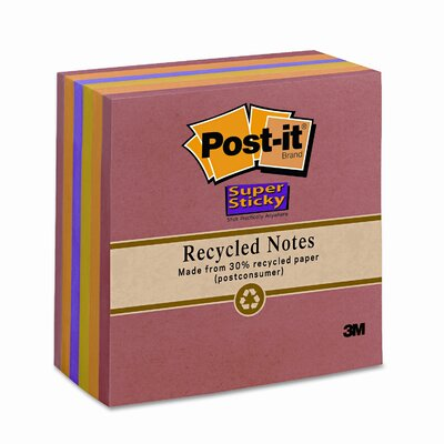 Post-it® Nature's Hues Super Sticky Notes, Lined, 4 x 4, Six 90-Sheet Pads/pk