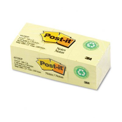 Post-it® Recycled Notes, 1-1/2 x 2, Canary Yellow, 12 100-Sheet Pads/pack