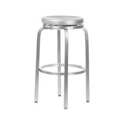 Alston Paula Brushed Aluminum Swivel Bar Stool