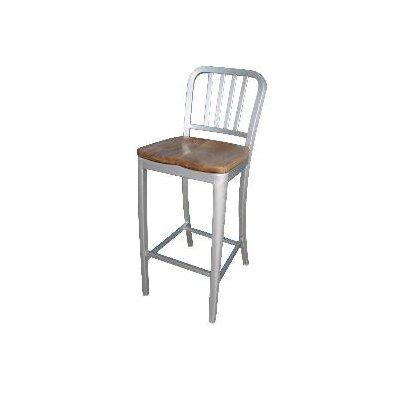 Alston Aluminum Bar Stool with Natural Wood Seat