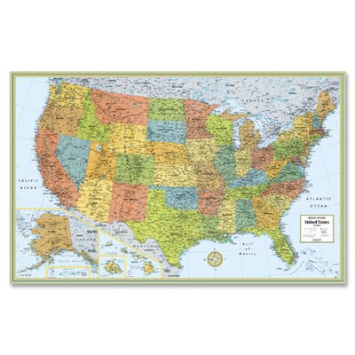"Rand McNally Company Deluxe United States Laminated Wall Map, 50""x32"""