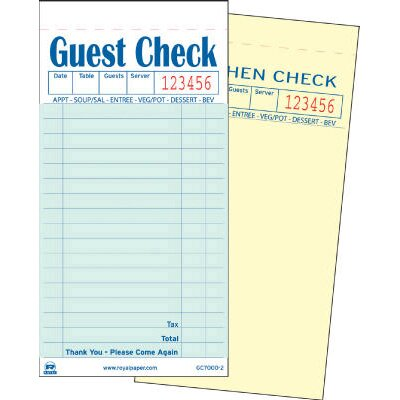 Royal Toner Duplicate Carbonless Guest Check Book