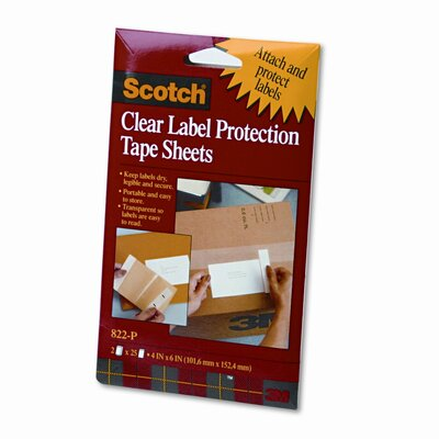 3M Heavyweight 4 x 6 Clear Label Protector Tape Sheets, Two 25 Sheet Pads/pack