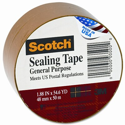 "Scotch® Bulk-Packed Commercial Grade Tape, 2"" x 55 Yards, 3"" Core, Tan"