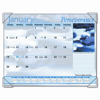 Visual Organizer Inspirational Color Photographic Monthly Desk Pad Calendar, 22 x 17, 2013