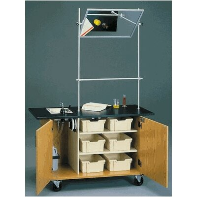 Fleetwood Mobile Science Demonstrator Table with Overhead Mirror and Black HPL Top in Light Oak