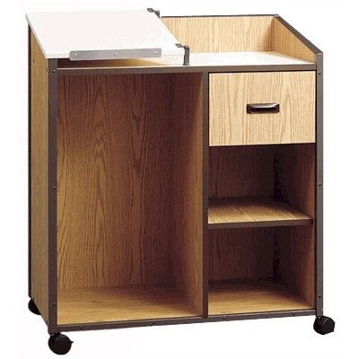 Fleetwood Mobile Podium with Shelf and Drawer
