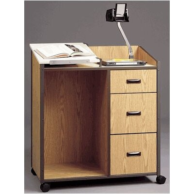 Fleetwood Mobile Podium with Two File Drawers and Storage Drawer