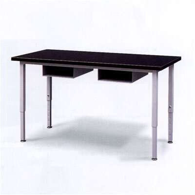 Fleetwood Adjustable Height Steel Frame Science Table with Black Chemical Resistant Top and Book Storage