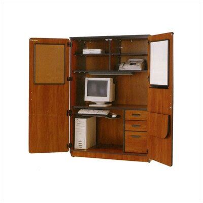 Fleetwood Illusions Teacher Computer Armoire Desk Office Suite with Locking Doors