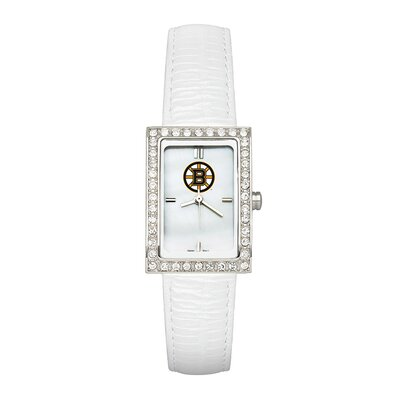 NHL Ladies Fashion Watch with White Leather Strap