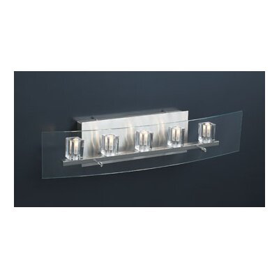 PLC Lighting Ice Cube Five Light Vanity Light  in Satin Nickel