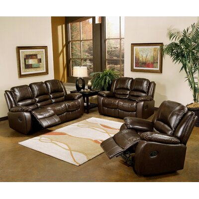 Abbyson Living Providence Reclining Leather Sofa and Chair Set
