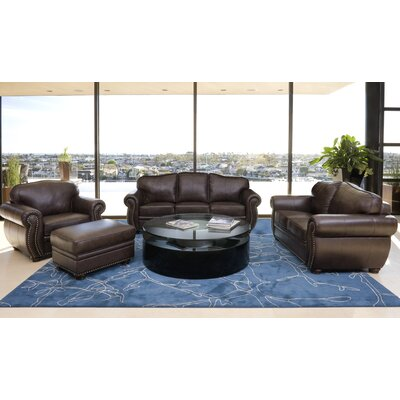 Abbyson Living Palazzo 4 Piece Italian Leather Sofa, Loveseat, Armchair and Ottoman
