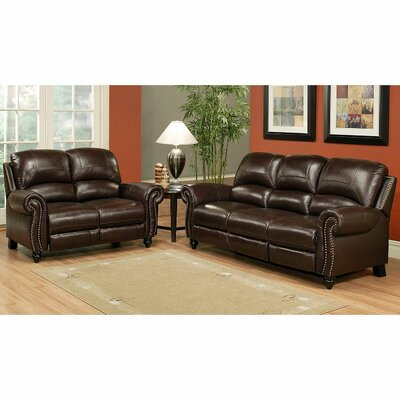 Abbyson Living Charlotte Leather Sofa and Loveseat Set