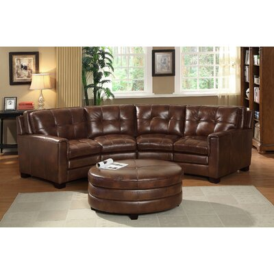 Lexia Premium Top Grain Sectional and Round Ottoman Set