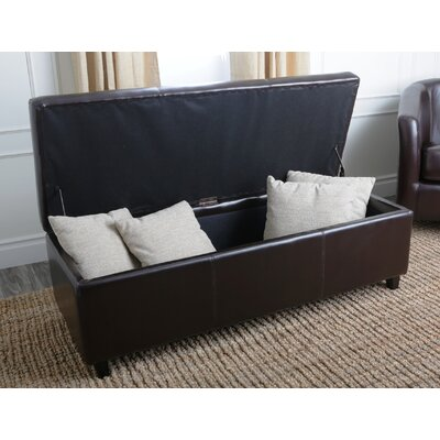 Abbyson Living Frankfurt Leather Storage Ottoman in Dark Brown