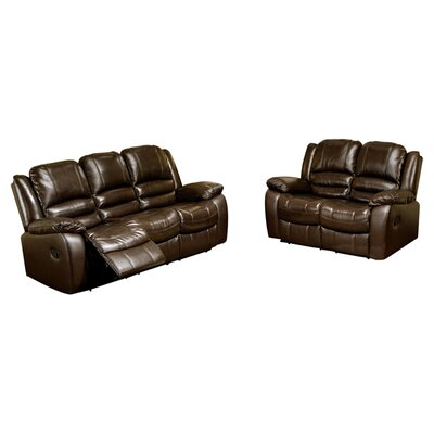 Abbyson Living Providence Leather Sofa and Loveseat Set
