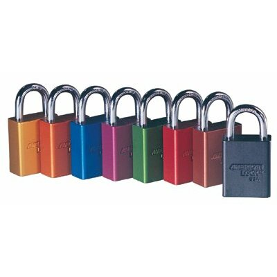American Lock Solid Aluminum Padlocks - 5 pin purple safety lock-out padlock key