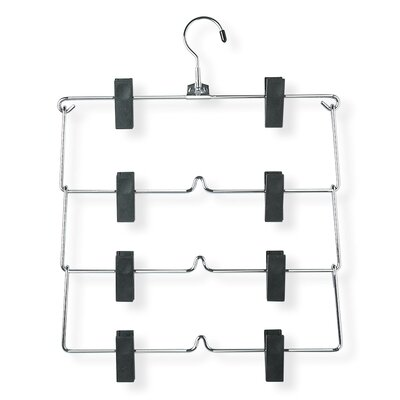 Four Tier Fold Up Skirt Hanger in Chrome/Black (2 Pack)