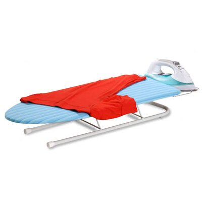 Tabletop Ironing Board with Retractable Iron Rest in Aqua Blue and White