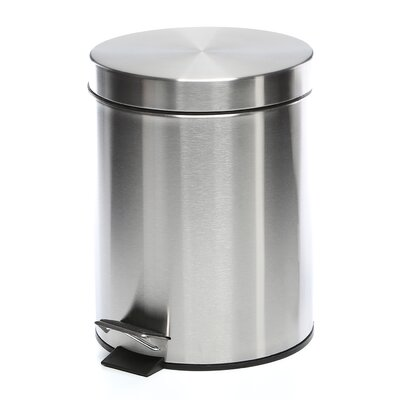 5-Liter Round Stainless Steel Step Trash Can