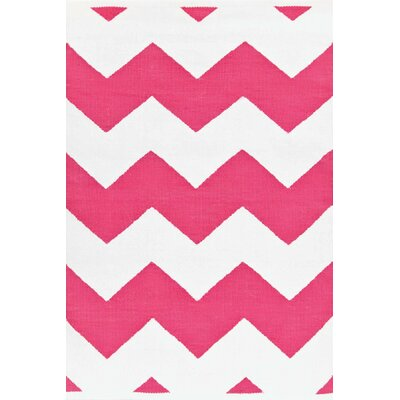 Dash and Albert Rugs Chevron Fuchsia/White Rug