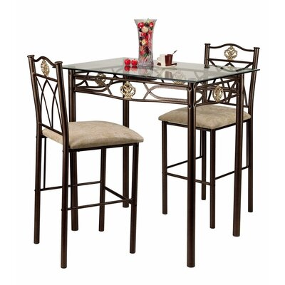 Hazelwood Home Three Piece Bistro Table Set in Gold