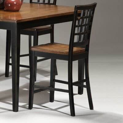 Imagio Home by Intercon Arlington Lattice Back Barstool in Black and Java