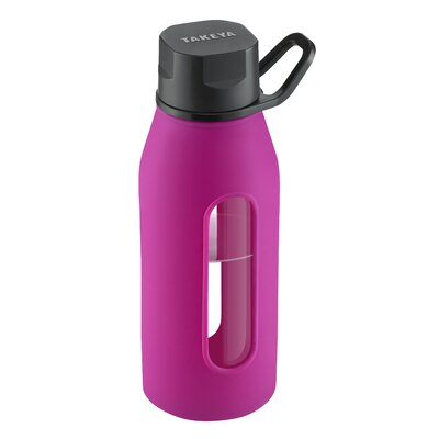 Takeya 16 Oz Classic Glass Water Bottle with Black Lid and Jacket in Fuchsia