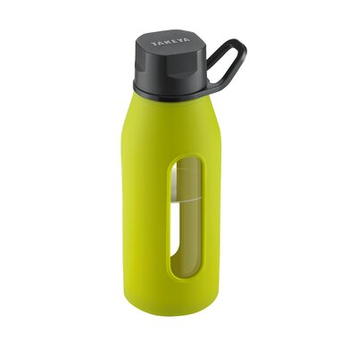 Takeya 16 Oz Classic Glass Water Bottle with Black Lid and Jacket in Green Apple