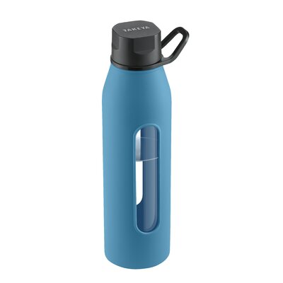 Takeya 22 Oz Classic Glass Water Bottle with Black Lid and Jacket in Cobalt