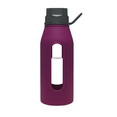 Takeya 16 Oz Classic Glass Water Bottle with Black Lid and Jacket in Purple