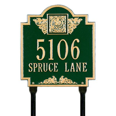 Whitehall Products Monogram Standard Lawn Address Plaque