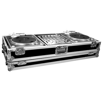 Road Ready Cases Two Turntables / Pioneer DJM500 or DJM600 Mixer or Other Mixer with Wheels - Battle Style