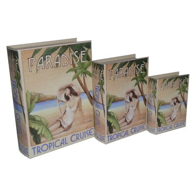 3 Piece Book Box with Vintage Tropical Cruise Theme Set