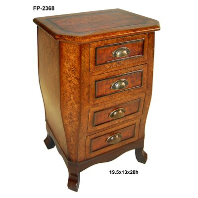 Cheungs Wooden Chest with 4 Drawers and Cupped Handles